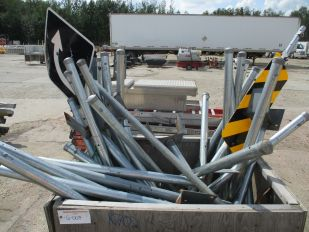 CRATE OF ASSORTED BARRICADE SIGN POSTS