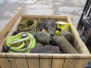 CRATE OF ASSORTED PIPE PLUGS, HOSES & GAUGES