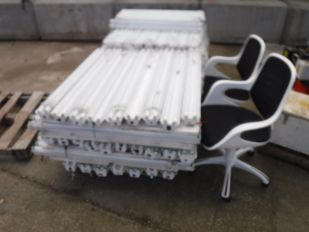 SKID FLUORESCENT STRIP LIGHTS AND 2 WHITE SWIVEL CHAIRS