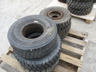 SKID OF 6 FORKLIFT TIRES ASSORTED SIZES