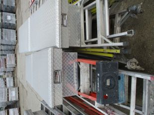 SKID OF ASSORTED STEP LADDERS & 2 JOCKEY BOXES