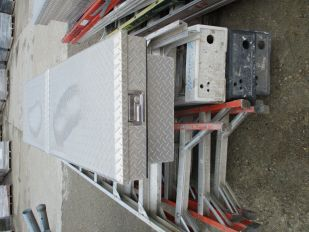 SKID OF ASSORTED STEP LADDERS & 1 JOCKEY BOX