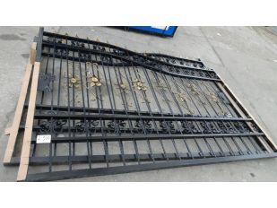UNUSED 20 FT BI-PARTING WROUGHT IRON DRIVEWAY GATE HEAVY DUTY (SOLD AS PAIR)